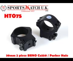 Sportsmatch HTO75 30mm 2 Piece BRNO CZ550 / Parker Hale Scope Rings