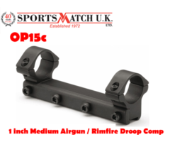 Sportsmatch OP15c 1 inch Medium Airgun / Rimfire Droop Comp Scope Rings