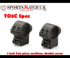 Sportsmatch T03C Special 1 inch Medium Airgun / Rimfire Scope Rings