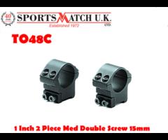 Sportsmatch TO48C 1 Inch Two Piece Medium Double Screw Mount For 15mm Tikka/Brno