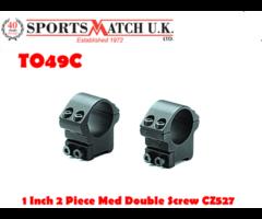 Sportsmatch TO49C 1 inch Medium Two Piece Double Screw Scope Mount For CZ527 / Fox