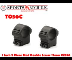 Sportsmatch TO50C 1 inch Medium 2 Piece Double Screw 17mm CZ550 Scope Rings