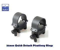 Talbot QD Mounts – 34mm Quick Detach 1913 Picatinny 2 piece Scope Rings