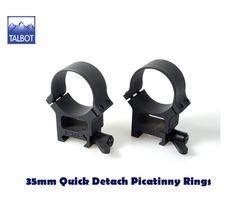 Talbot QD Mounts – 35mm Quick Detach 1913 Picatinny 2 piece Scope Rings