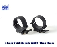 Talbot QD Mounts – 40mm Quick Detach CZ550 / Brno 19mm 2 piece 1/2 inch Saddle Scope Rings