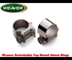 Weaver Detachable Top Mount 30mm Scope Mount Rings
