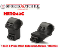Sportsmatch HETO42C 1 inch 2 Piece High Extended Airgun / Rimfire Scope Rings