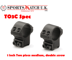 Sportsmatch T03C Special 1 inch Medium Airgun / Rimfire Scope Rings