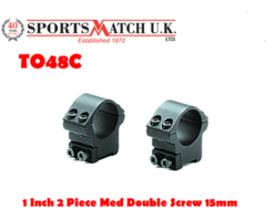 Sportsmatch TO48C 1 Inch Two Piece Medium Double Screw Mount For 15mm Tikka/Brno