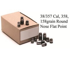 GM Lead Bullet Heads 358, 158grain Round Nose Flat - CODE 3605E